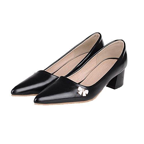 Tire Pointu Chaussures Cuir Pu Couleur Femme Unie L Agoolar FwqaYY