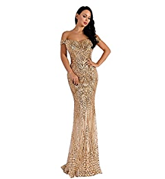 Amazon.com: Miss ord Missord Womens V Neck Sequined Prom Banquet Party Maxi Dress Gold X-Small: Clothing