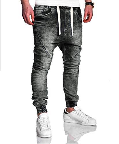 elásticos LILICAT Ocasionales lavan los los de Delgados Vendimia Negro la de de los Hombres Vaqueros Pantalones Ocasionales Jeans Vaqueros AAwSqr1