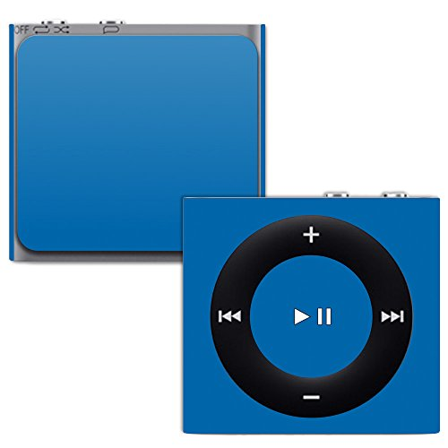 MightySkins Skin for Apple iPod Shuffle 4G - Solid Blue | Protective, Durable, and Unique Vinyl Decal wrap Cover | Easy to Apply, Remove, and Change Styles | Made in The USA (Silicone Protective Shuffle Case)