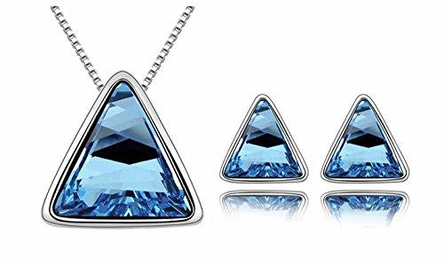 parure collier boucles bleu triangle métal argenté