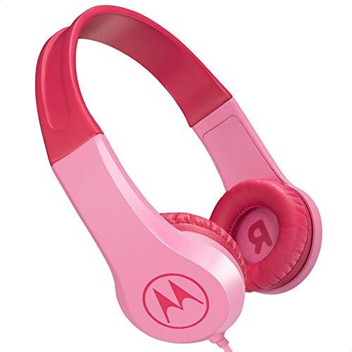 Motorola Lifestyle Squads 200 – kabelgebonden kinderhoofdtelefoon, beperkt volume met 85 dB – Stickers inbegrepen – Roze