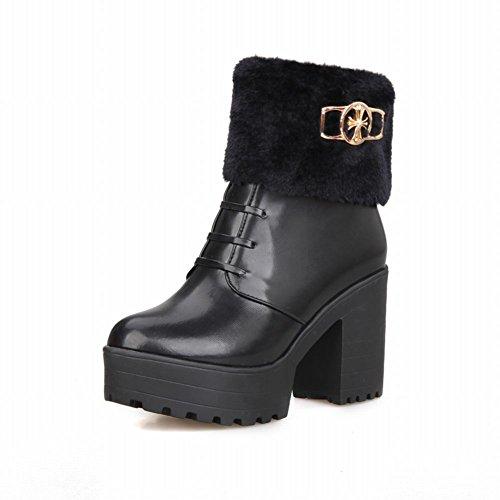 Carolbar Womens Fashion Rits Faux Fur Warm Schattig Winter Platform Hoge Dikke Hak Snowboots Zwart