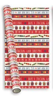 10m (2x5m) Christmas Gift Wrapping Paper - Xmas Crackers Do Not Open Until 25th