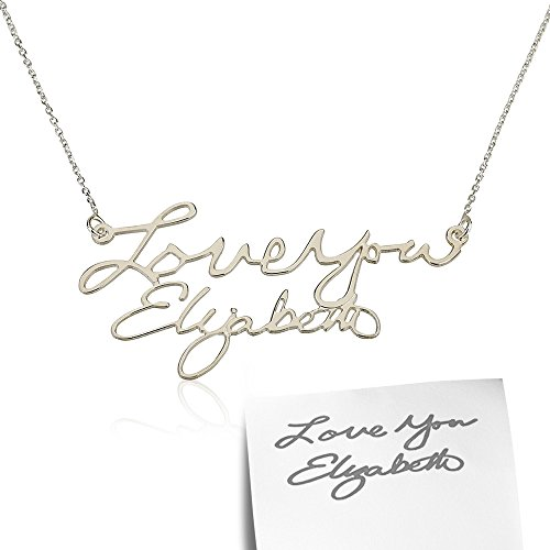 Signature Nameplate (Signature Necklace- Handwriting Necklace, Silver Name Necklace, Word Necklace, Nameplate Necklace (18 Inches))