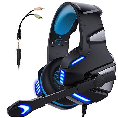 Micolindun V3blue Gaming Headset for PS4 Xbox One, Over Ear Gaming Headphones with Mic Stereo Surround Noise Reduction LED Lights Volume Control for Laptop, PC, Tablet, Smartphones, Blue ()