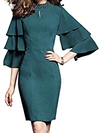 Womens Vintage Bell Sleeve Funnel Neck Curve Hem Work Party Casual Dress