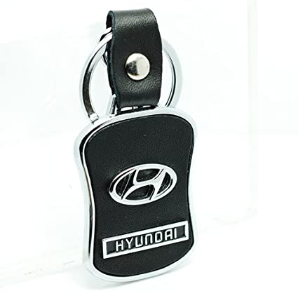 Amazon Com New Leather Metal Hyundai Car Keychain Key Ring With
