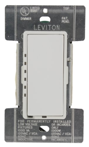 Leviton MCM10-1LW Mural 1000W Scene-Capable Preset Digital Incandescent/1000VA Mag Low-Voltage Rocker Dimmer, Single-Pole, White ()