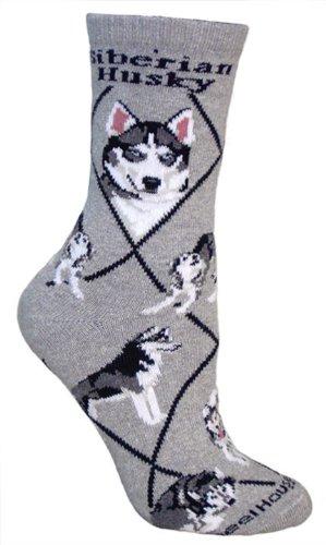 Siberian Husky Socks - Siberian Husky Dog Gray Large Cotton Socks