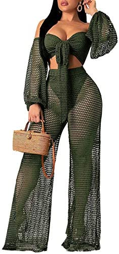 Women Sexy Mesh See Through Crochet Off Shoulder Crop Tops and Legging Pants 2 Piece Bikini Swimsuit Cover-ups Beach Outfits