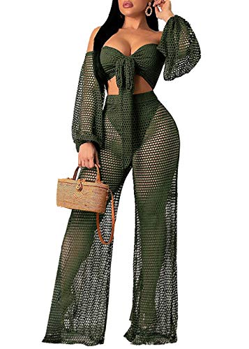 Women Sexy Mesh See Through Crochet Off Shoulder Crop Tops and Legging Pants 2 Piece Bikini Swimsuit Cover-ups Beach Outfits (Green, S)