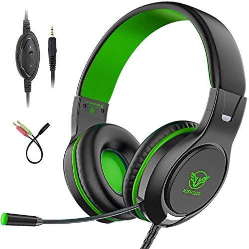Pobon Gaming Headset para Xbox One / PS4 / Nintendo Switch / Mac / PC / Smart Phones / iPad, cancelación de ruido Bass Surround Sound 3.5mm Jack Over-Ear Game auriculares con micrófono (verde)