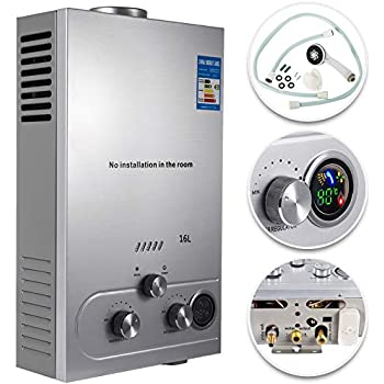VEVOR Propane Hot Water Heater 16L Tankless Propane Water heater 4.3GPM Stainless Steel Liquefied Petroleum Gas Water Heater with Shower Head Kit Wall-Mounted Water Heater