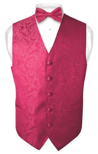 Hot Pink Design - Men's Paisley Design Dress Vest & Bow Tie HOT PINK FUCHSIA BOWTie Set sz Small