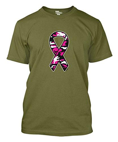 Pink Ribbon Green T-shirt (Tcombo Carmouflage Pink Ribbon - Breast Cancer Awareness Men's T-shirt (Large, Olive Green))