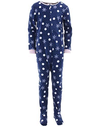 Velour Snowflake - Komar Kids Girls' Big Plush Velour Fleece Footed Blanket Sleeper Pajama, Indigo Snowflake, Large