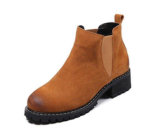Retro áspera con botas botas de mujer zapatos planos de los zapatos del elevador primavera Ms. Camel