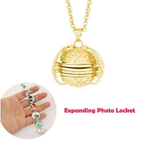 TureLaugh Expanding Photo Locket Necklace Pendant 4 Pictures Frame Gift Jewelry Decoration for Kids,Women,Boys - Locket Ball Photo