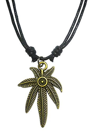 [BDJ Antique Bronze Marijuana Pot Leaf Charm Pendant Adjustable Cord Necklace] (Best Friend Costumes Ideas Diy)