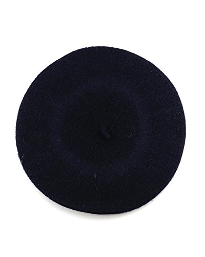 NYFASHION101 French Style Lightweight Casual Classic Solid Color Wool Beret, Navy