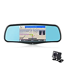 SmarTure 5'' Smart Android Rear View Mirror Quad Core with GPS Navigation,Dash Camera,WIFI,Back Up Camera,Bluetooth,1GB RAM 8GB ROM 32GB Card,Bracket #1 #3 for Honda,Toyota,Ford,V.W.,Lexus,Mazda,and More