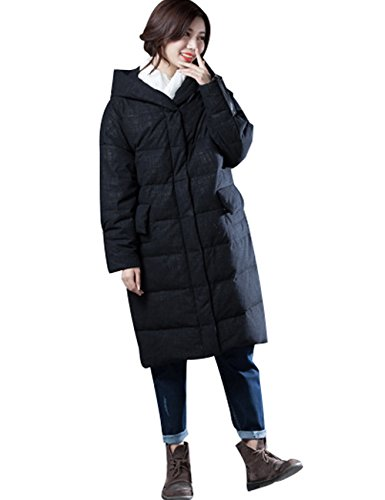 Abrigos Abrigos Youlee largos Negro Estilo el invierno Cremallera Mujeres con capucha 1 para rxrI6Etq
