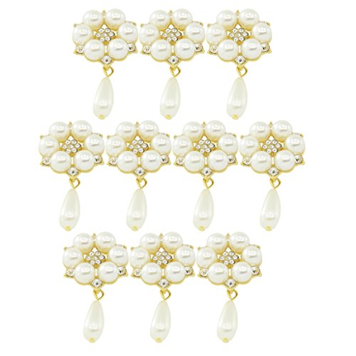 Metal Rhinestone Crystal Buttons Flatback Embellishments with Pearl Drops Pendant for Scrapbooking/Wedding/Phone/Craft/Hair Flower Center - gold ()