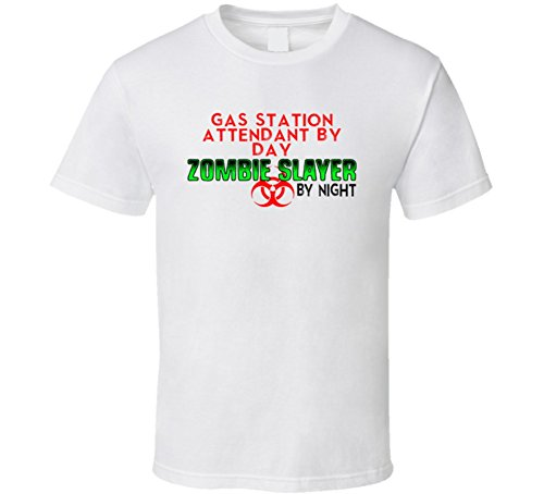 Attendant Costume Gas Station (Gas Station Attendant By Day Zombie Slayer By Night Halloween Costume Job T Shirt M)
