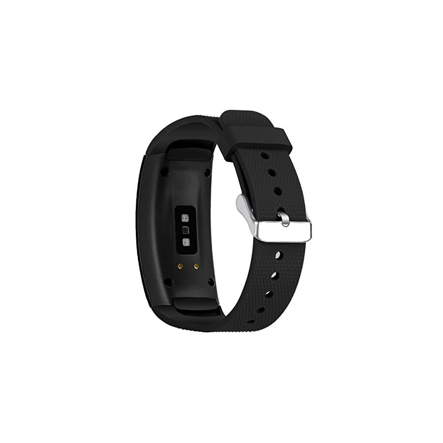 "Aresh Compatible Samsung Gear Fit 2 Band/Gear Fit 2 Pro Band, Replacement Bands Accessories Compatible Samsung Gear Fit2 Pro SM R365/ Gear Fit2 SM R360 Smartwatch (Black 5.9"" 7.5"")"