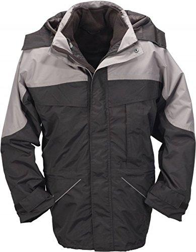 Jacke Herren Outdoor Übergrösse 3-in-1 schwarz-grau