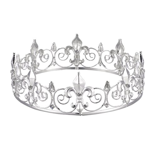 Eseres Men's Full Round Fleur De Lis King's Crown (Silver -