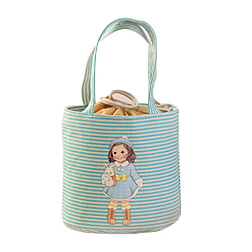 (Lunch Bag for Kids and Adults, Iuhan Women's Reusable Multifunction Lunch Box Cute Doll Girls Thermal Insulated Tote Cooler Bag Bento Pouch Lunch Container for Outdoor Travel Picnic School (Blue))