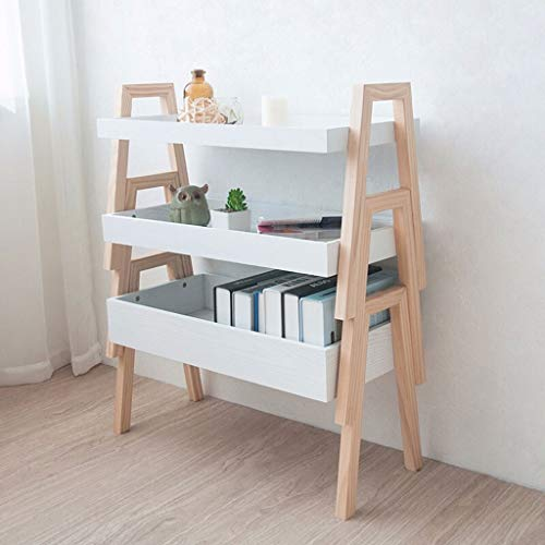 Wooden plant stand YST Creative Combination Flower Stand New Zealand Pine Foot Board Multi-layer Finishing Storage Rack Green Plant Fleshy Balcony Frame Balcony White Three-layer Indoor and outdoor de