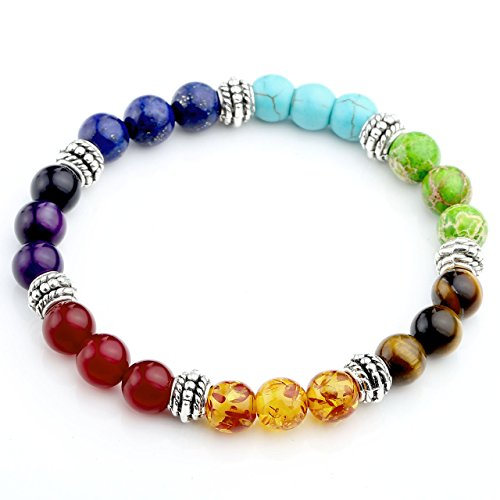 Jovivi 7 Chakras Bracelet Reiki Healing Balancing Round