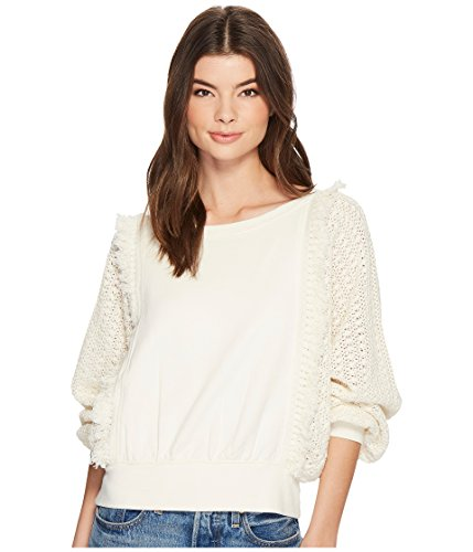 - Free People Faff and Fringe Pullover Sweater, Ivory (Large)