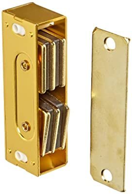 """Rockwood 901.BRS Aluminum Extra Heavy Duty Magnetic Catch, 13/16"""" Width x 3-1/3"""" Height x 1"""" Thickness, Brass Finish"""