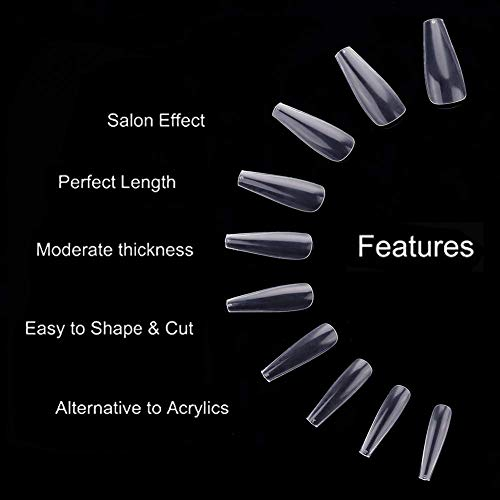 Makartt 500pcs Coffin Nail Tips Press on Nails Long Ballerina Nails Clear Full Cover Acrylic Nails False Nail Tips 10 Sizes A-02