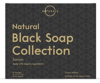 O Naturals 6-Piece Black Soap Bar Collection. 100% Natural. Organic Ingredients. Helps Treat Acne, Repairs Skin, Moisturizes, Deep Cleanse, Luxurious. Face & Body Women & Men. Triple Milled, Vegan 4oz from O Naturals