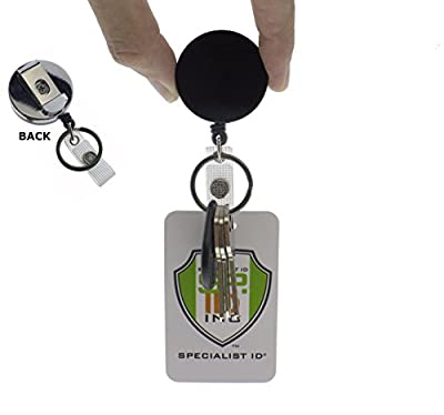 Heavy Duty All Metal Casing Badge & Key Reel with Thick Nylon Cord, Belt Clip, Reinforced ID Strap and Keyring by Specialist ID