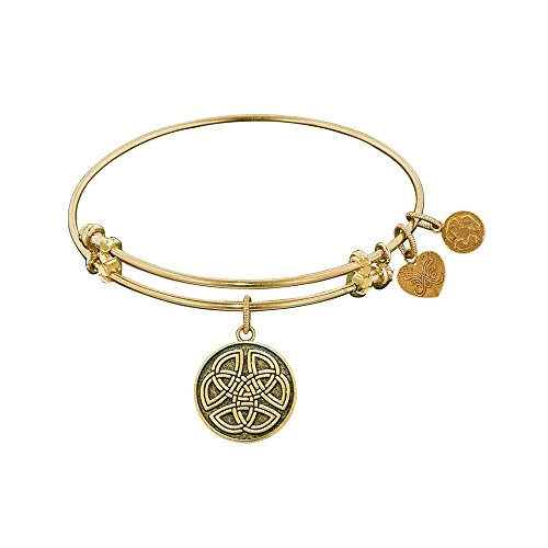 Brass Celtic Knot - Angelica Collection Antique Smooth Finish Brass Celtic Round Knot Expandable Bangle