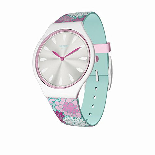 Swatch Women's Skinpivoine SVOZ100 Matte White Silicone Quartz Fashion Watch
