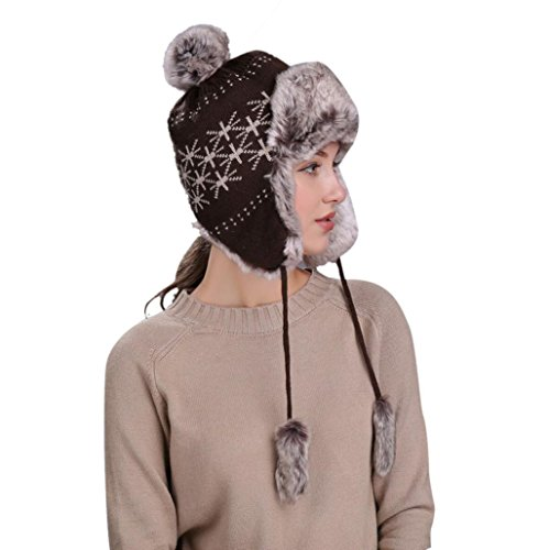 Friend Knit Hat - Jushye Hot Sale!!!Warm Hat, Women Winter Hats With Ear Flaps Snow Ski Thick Knit Thick Wool Beanie Cap (Coffee)