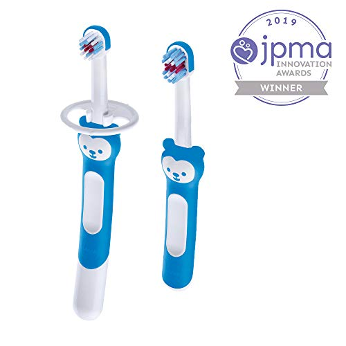 MAM Learn to Brush Set, Baby Toothbrush Set, Boy, 5+ Months, 2-Count