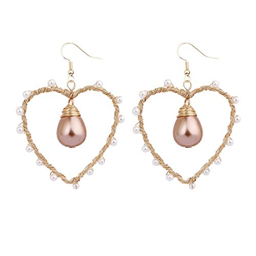 Voberry Luxury Bohemian Creative Double Natural Freshwater Pearl Wire Wrapped Woven Party Earrings Jewelry (Goldfish 14k Hook Earrings)