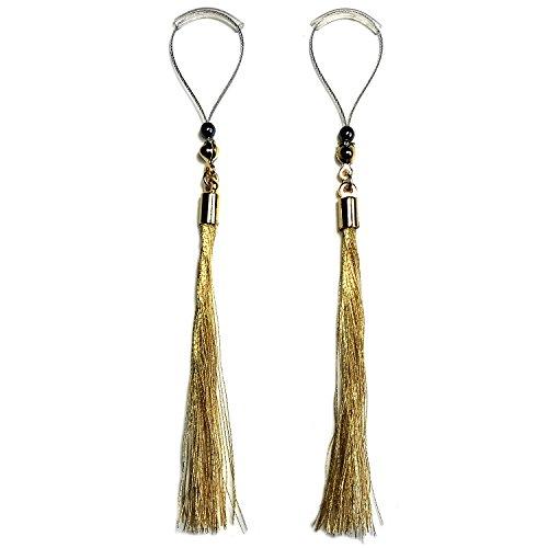 BoDivas Nipple Jewelry Noose Rings Kimono Thread Tassel Gold Hematite Adjuster Non Piercing Nipplerings by BoDivas
