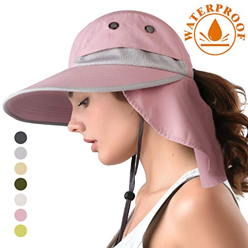 (camptrace Safari Sun Hat Wide Brim Fishing Hat with Neck Flap for Women Ponytail Packable UPS UPF 50+ for Hiking Hunting Camping (D Pink, One Size))