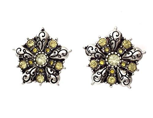 Yellow Rhinestone Star Flower Silver Tone Small Stud Post Earrings