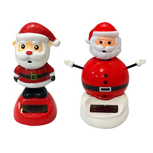 (DINGJIN 2 Pcs Solar Dancing Toy Santa Claus Cute Solar Powered Dancing Dolls Swinging Animated Bobble Dancer Toy Car Decor)