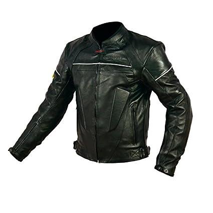 RIDER-TEC Blouson Moto Cuir Street Homologué CE-13595, Noir, L